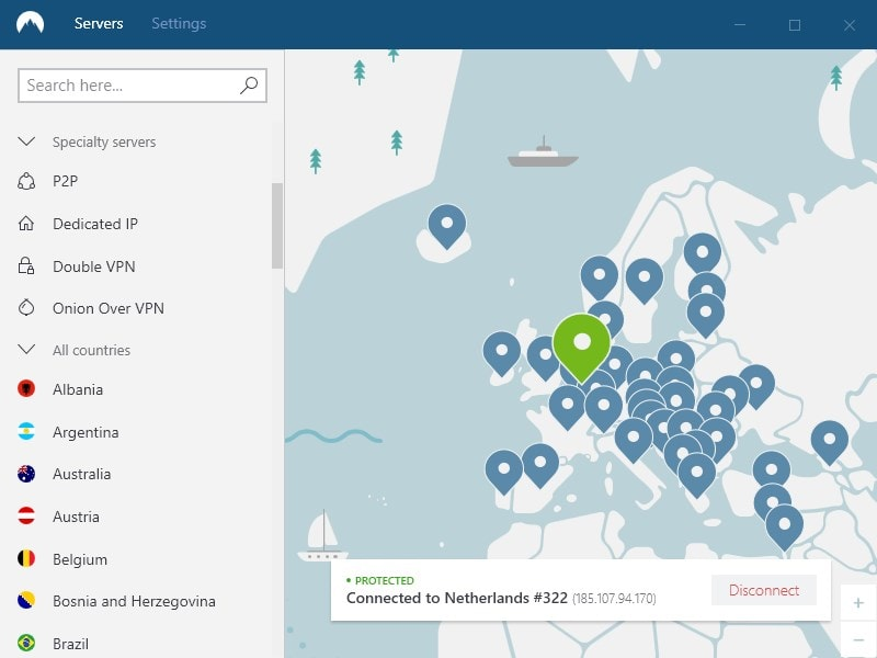 Nordvpn has a large selection of countries